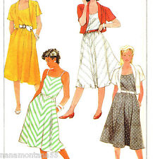 Vtg '86 Simplicity 7425*Bias Sundress & Bolero Shrug Jacket Pattern*Sz 12*UCFF