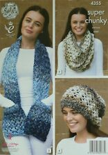 KNITTING PATTERN Ladies Scarf with Pockets, Snood & Slouchy Hat SuperChunky 4355