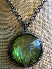 """Laura Ashley® Large Round Green Disco Flicker Necklace Silvertone Signed-18"""""""
