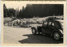 PHOTO ANCIENNE - VINTAGE SNAPSHOT - VOITURE COL DE LA FAUCILLE JURA TRACTION-CAR