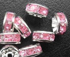 Free Ship 100Pcs Silver Pink Plated Crystal Spacer Beads 8mm