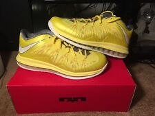 New Nike Air Max Lebron X 10 Low Sonic Yellow Cool Grey Tour Yellow Size 10.5