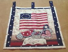 Country Wall Hanging Quilt, American Flag, Watermelon, Rag Doll, Heart, Stars