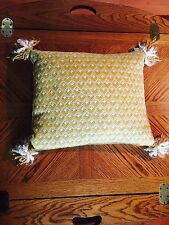 Vintage Wool Needlepoint Feather Down Stuffed Pillow Cushion