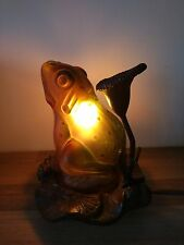 Vintage Frog Table Lamp Night Light Glass & Lily Pad Designs on Metal Base