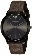 BRAND NEW EMPORIO ARMANI AR2483 CLASSIC GUNMETAL DIAL BROWN LEATHER MEN'S WATCH