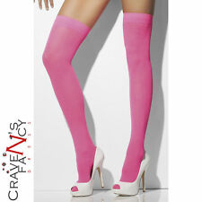Neon Pink Hold Ups Opaque Sheer Stockings 80's Fancy Dress Ladies One Size New