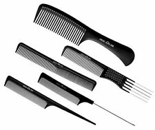 HAIRDERESSING SALON HEADJOG SET OF 5 BLACK COMBS PINTAIL TAIL CUTTING DETANGLE