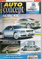 """REVUE MAGAZINE AUTOMOBILE """" AUTO CONCEPT """" N°50 AUDI A8 ALFA ROMEO 147 MAYBACH.."""