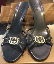 Gucci black leather  mule strappy sandals gold GG logo size 8.5