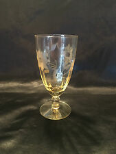 Vintage Wine Glass.  Deco  Etched yellow Glass.