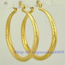 "1.77"" REAL NOBBY 18K YELLOW GOLD GP HOOP EARRINGS EMPAISTIC SOLID FILL GEP v11"