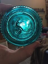 VINTAGE Blue COLORED PAIRPOINT CUP PLATE - Home MA - MINT Christmas 91