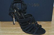 NIB SERGIO ROSSI Womens INES Black Suede Double Ankle Strap Heel Size 7 EUR 37