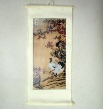 Dollhouse Asian Trees & Birds Chinese Silk Wall Hanging Doll House Miniatures