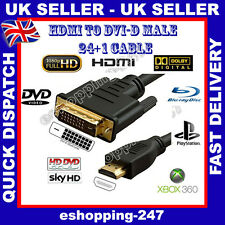 1.5M Gold HDMI to DVI-D 24+1 Pin Digital Cable for True HDTV LCD Sky BluRay A124