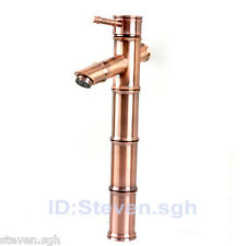 Antique Copper Bamboo Design Bathroom Mixer Tap Vessel Sink Faucet 5304C
