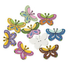 Lot of 10 BUTTERFLY 2-hole Wooden Buttons 25mm x 17mm Scrapbook Doll (4282)