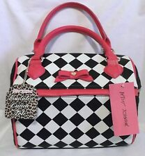 BETSEY JOHNSON BLACK & WHITE WITH FUCHSIA TRIM INSULATED LUNCH TOTE NWT