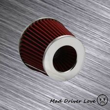 "3"" HIGH FLOW SHORT RAM COLD INLET ROUND CONE AIR FILTER CHROME/RED 2.5"" REDUCER"