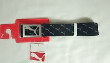 PUMA WEB CANVAS GOLF BELT CAT LOGO REPEAT PRINT BLACK ONE SIZE ADJUSTABLE