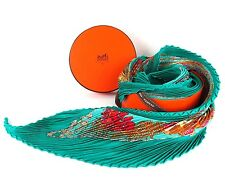 Auth HERMES 100% Silk Carre Pleated Scarf 'Grands Fonds' Green Blue With Box