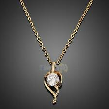 New 18k Gold Filled Jewelry Feather Crystal Necklace Fashion Woman Pendant Chain
