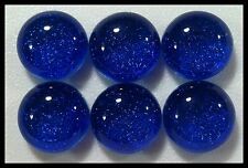 Lot of 6 TWINKLE ROYAL BLUE Fused Glass DICHROIC Cabochon NO HOLE Flat Back Bead