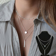 Vogue Multistrand 3 Layer Necklace - Charm Simple Gold Silver Chain Boho Pendant