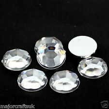 150pcs Crystal Clear 10mm Flat Back Thick Taiwan Acrylic Rhinestones Craft Gems