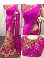 Traditional Indian Ethnic Bollywood Party Wear Heavy Work Blouse Designer Saree