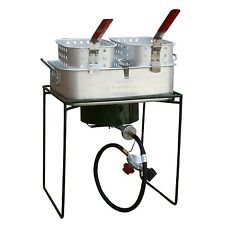 Outdoor Propane Cooker Deep Fryer Heat Resistant Handles Aluminum Pan 2 Baskets