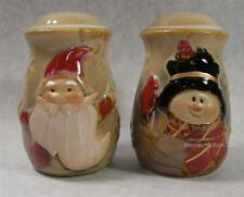 Ceramic Christmas Santa Claus and Snowman Salt & Pepper Shakers Set