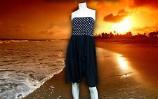 NWT GOTTEX TEA at 3 polka dot BATHING SUIT cover-up SKIRT or Tube DRESS - LARGE