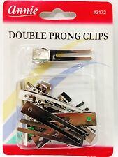 ANNIE DOUBLE PRONG CLIPS #3172 10 PCS SMALL SILVER CLIPS