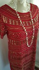 Vtg 1920,s style Jazz Age Gatsby red gold beaded flapper dress size 10