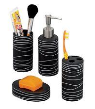 Set 4 accessori da bagno in ceramica colore: Nero Zeller 18252 Nuovo