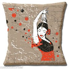 "VINTAGE RETRO SPANISH FLAMENCO DANCER BEIGE RED BLACK 16"" Pillow Cushion Cover"