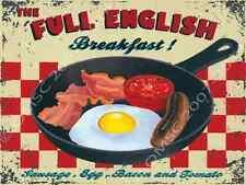 Full English Breakfast Metal Sign, Traditional Meats, Eggs, Tomato, Diner Decor