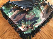 New  PERSONALIZED/MONOGRAM Baby Boy Camo camouflage Tie Knot Fleece Blanket