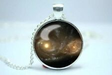 "Galaxy 1"" Diameter 925 Sterling Silver Pendant With Chain Necklace Space"