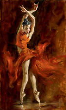 No framed Oil painting female portrait young ballet girl Fiery Dance on canvas