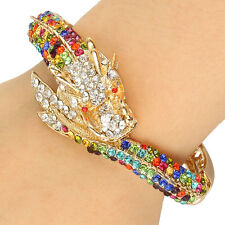 Dragon Loong Animal Bangle Cuff Bracelet Multi Austrian Crystal Gold Plated Gift
