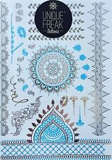 Silver Blue Henna-Luxury Metallic Flash Bindi Temporary Tattoos By Unique Freak