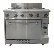 COMMERCIAL CATERWARE  FREESTANDING S/S GAS SIX BURNER WITH OVEN. (LPG OR NATURAL