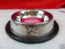 Cat Or Dog Non Skid Feeding Water Bowl Dish Paw Prints Silver New