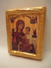 Virgin Mary Hodegetria  Christianity Rare Polish Catholic Icon on Aged Wood