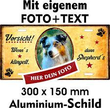 Hunde Schild eigenes Foto Text  Australian Shepherd Aussie Warn Tür Fun Schild