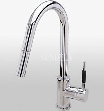 Chrome Brass Kitchen Faucet Pull Out Vessel Sink Mixer Tap Swivel Spout Tap  -UK