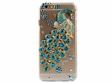 3D Peacock Rhinestone Clear Back Skin Shell Phone Case Cover for iPhone 6 Plus